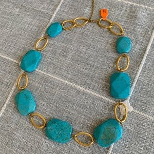 Turquoise and gold color necklace